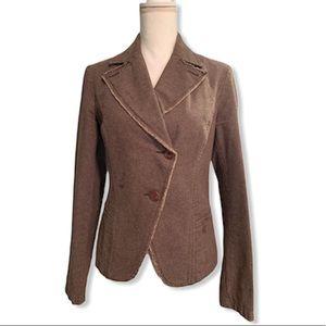 SISLEY Brown 100% Cotton Casual Blazer Jacket